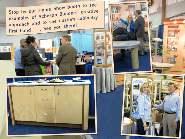 montage of photos of Acheson Builders home show booth showing visitors, Jim Acheson, staff and examples of custom cabinetry