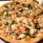 Shrimp pizza with mushroom and onions