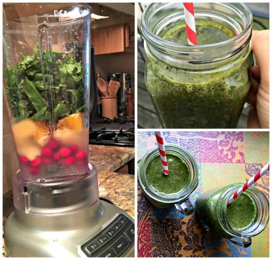 Banana Cranberry Smoothie with Dandelion Greens