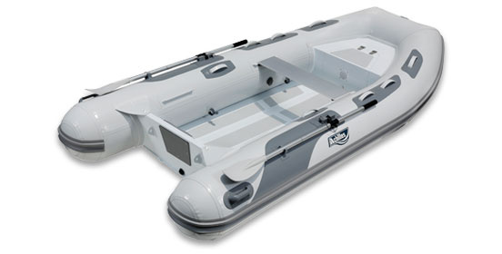 Achilles HB310AX The aluminum inflatable rigid hull (RIB) boat provided by Achilles as our dinghy. 10'2″ long, 5'2″ wide.