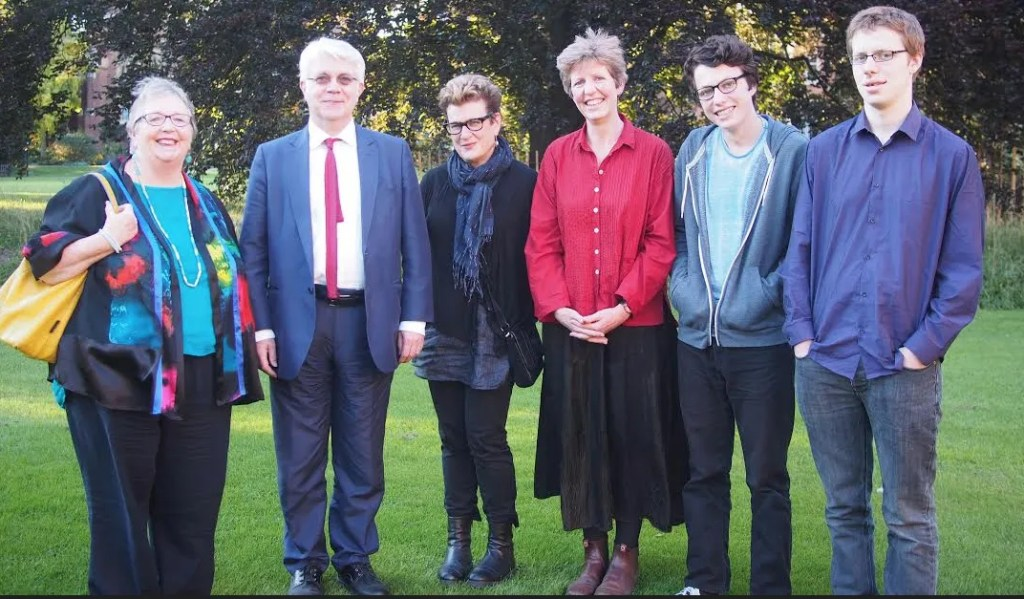 l to r: Morag Styles, Professor of Children's Poetry  and Chair of the Philippa Pearce Memorial Lecture Committee/ Professor Geoff Ward Principal of Homerton College, University of Cambridge, Meg Rosoff /  Philippa's daughter Sally Christie/ Philippa's grandsons Will and Nat Photographer: Jill Paton Walsh