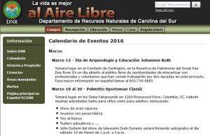 Spanish-language page from SCDNR website