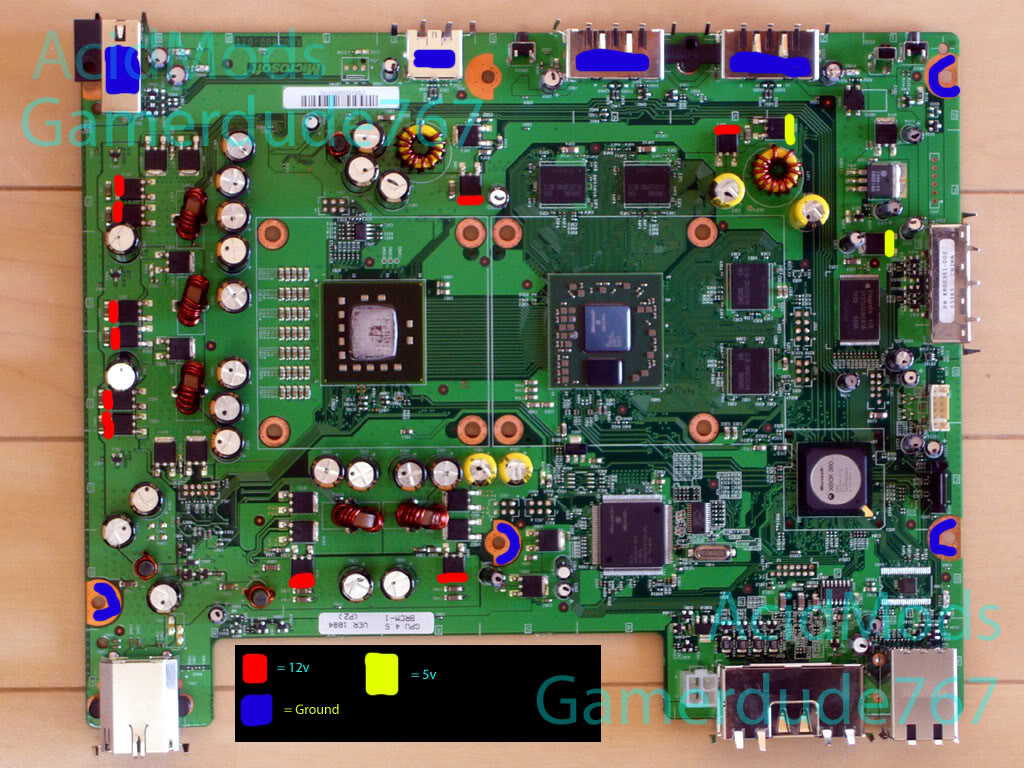Xbox 360 Motherboard Power Points Pinout By Gamerdude767