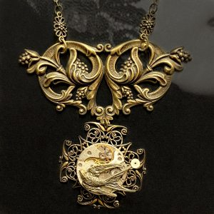 Steampunk Necklace leather lace