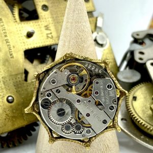 Steampunk Ring with Brass Color Crown