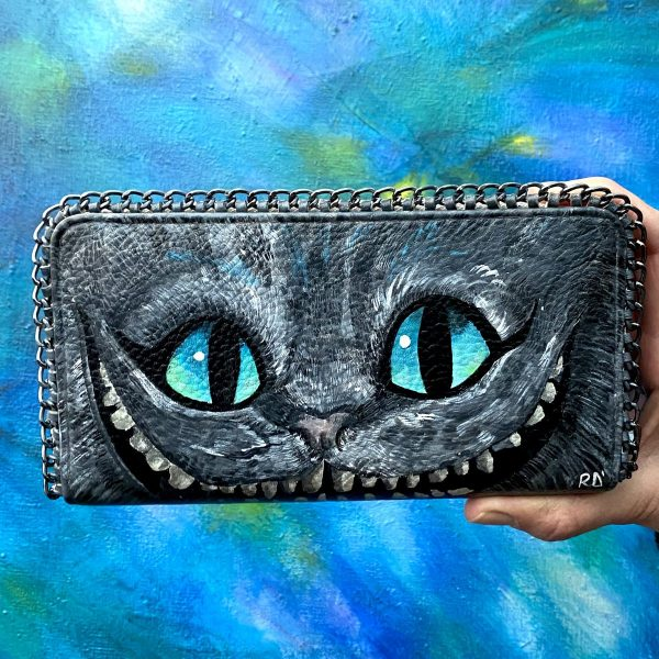 Cheshire Cat Hand Painted Wallet