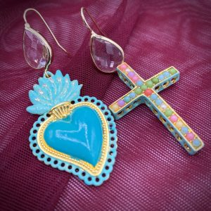 Sacred Heart and Cross earrings