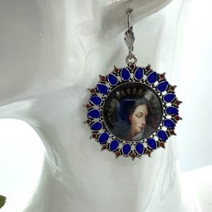Blue Virgin Mary earrings