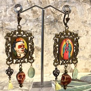 Frida Kahlo sugar skull earrings
