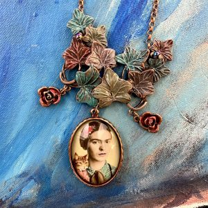 Frida Kahlo with cat Necklace