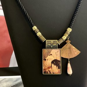 Japanese Folding Fan Necklace