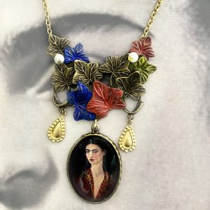 Frida Kahlo blue Handmade Necklace