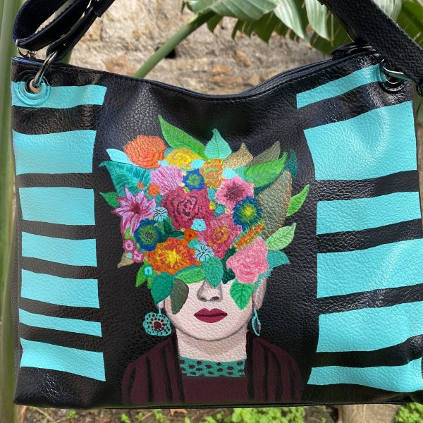 Frida Kahlo flowers Hand painted bag
