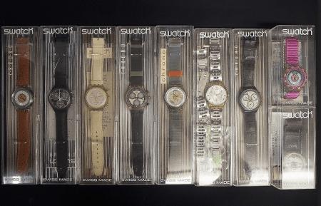 シンプル構造とデザイン性の高さで人気を博すスウォッチ SWATCH の腕時計を9点セットで買取させて頂きました。