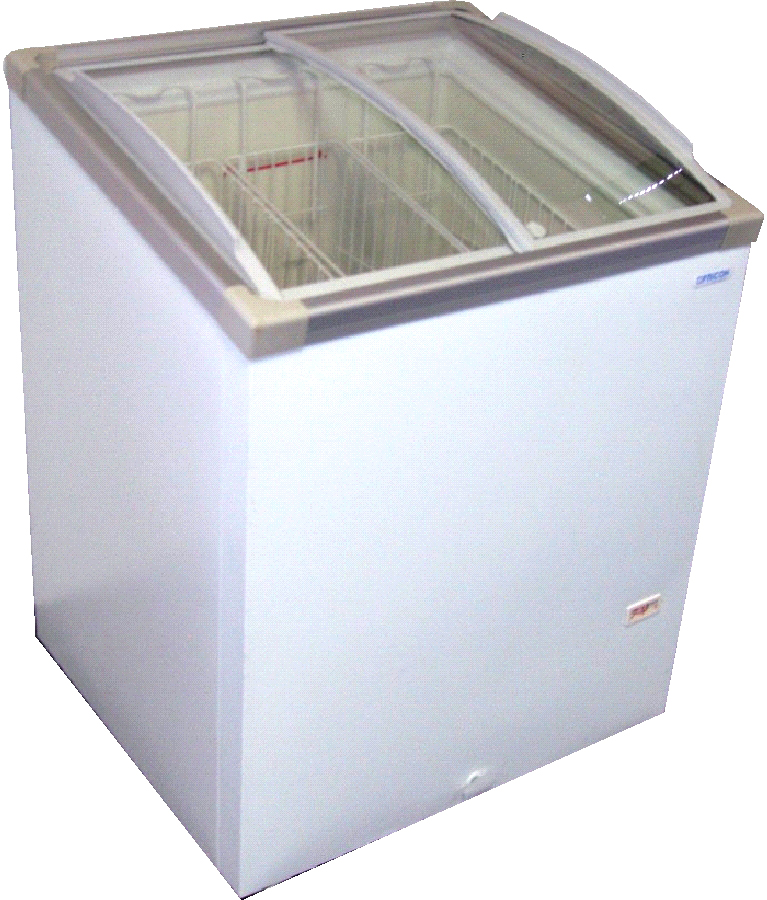 30 Chest Freezer 57 CuFt W Angle Curve Glass Top SUB