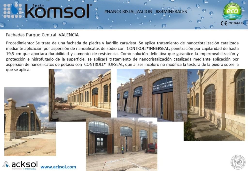 Tratamiento de fachada en el Parque central de Valencia