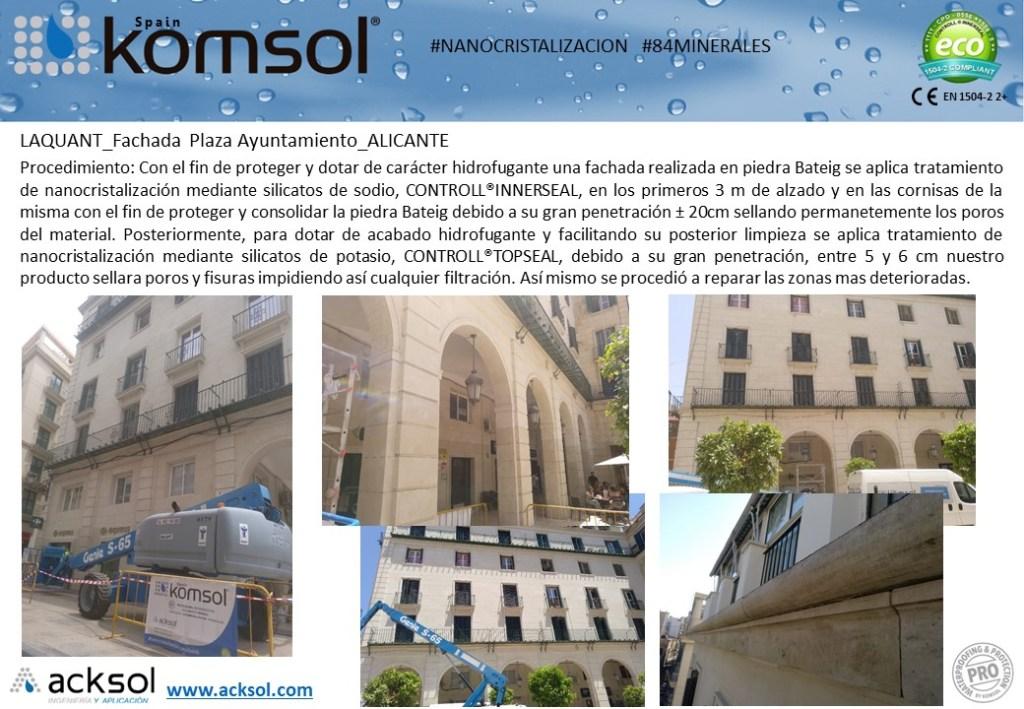 Tratamiento de fachada en la Plaza del Ayuntamiento de Alicante