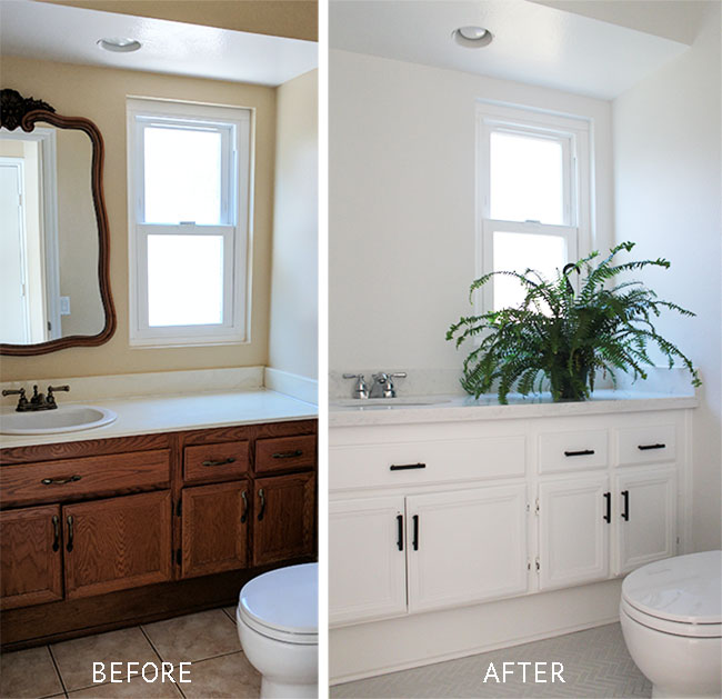 Small bathroom makeover - before and after sources