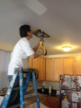 Removal of water damaged drywall