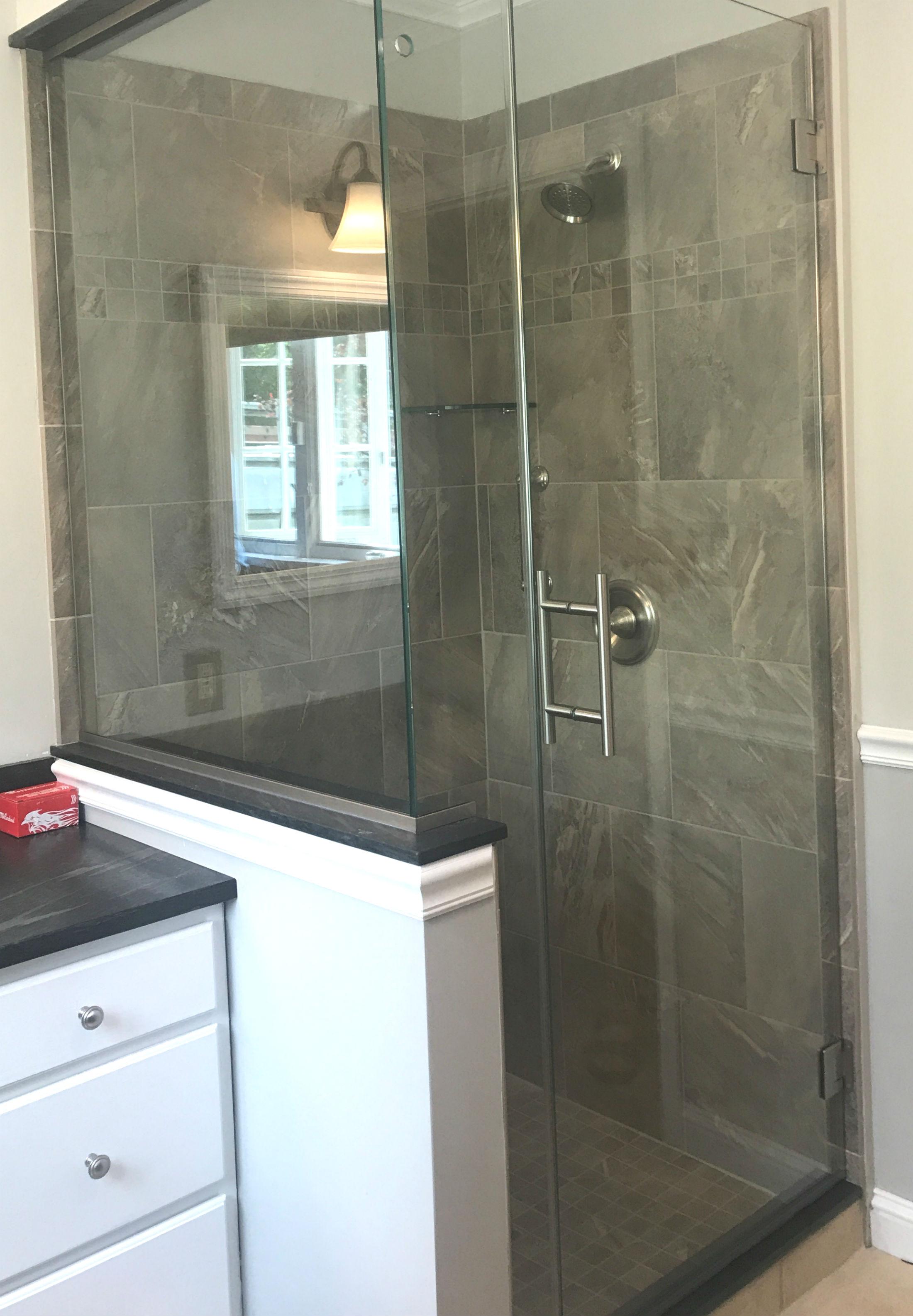 dark gray tile shower acme glass
