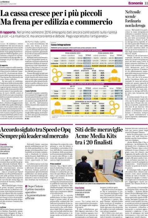 """Articolo """"La Provincia"""" del 27/07/2016"""