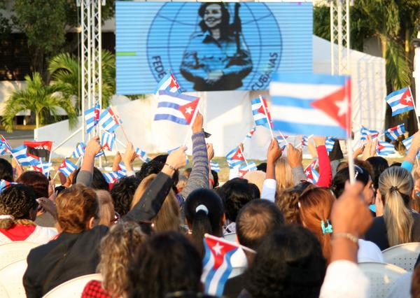 Momentos del acto nacional por el Día Internacional de la Mujer, que tuvo por sede la plaza Mayor General Serafín Sánchez Valdivia, en Sancti Spíritus, el 8 de marzo de 2018. ACN FOTO