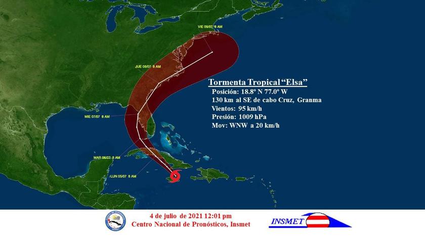 Las bandas de nublados de la tormenta trpical Elsa están afectando la región oriental de Cuba.