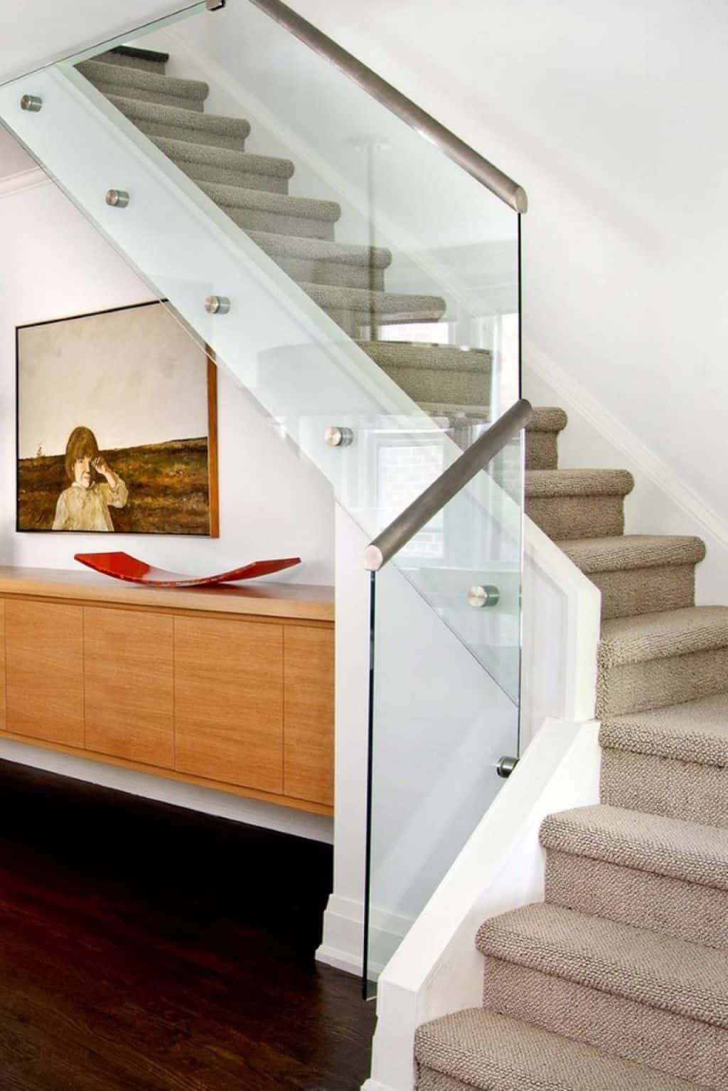 Fascinating Glass And Steel Staircase Railing Of Modern E With | Modern Stainless Steel Staircase Railing | Modular Steel | Hand | Crystal Handrail | Contemporary | Exterior