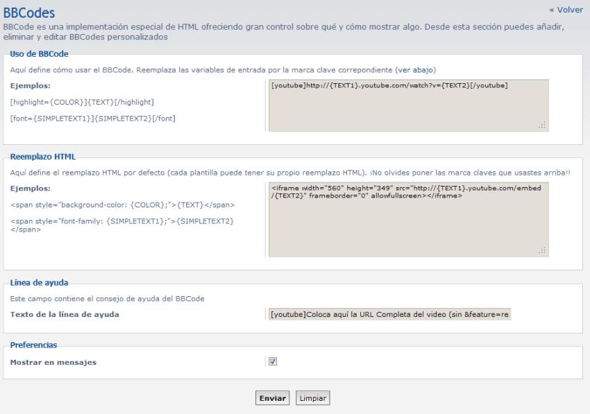Personalizar BBCodes en phpBB (Youtube)
