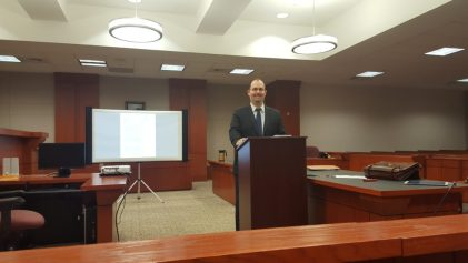 Attorney Andrew Garza and our court tech set up.