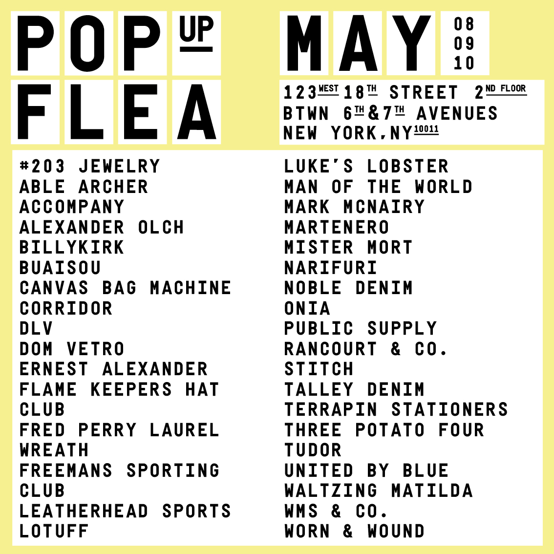 This weekend pop up flea nyc a continuous lean for 123 william street 2nd floor new york ny 10038