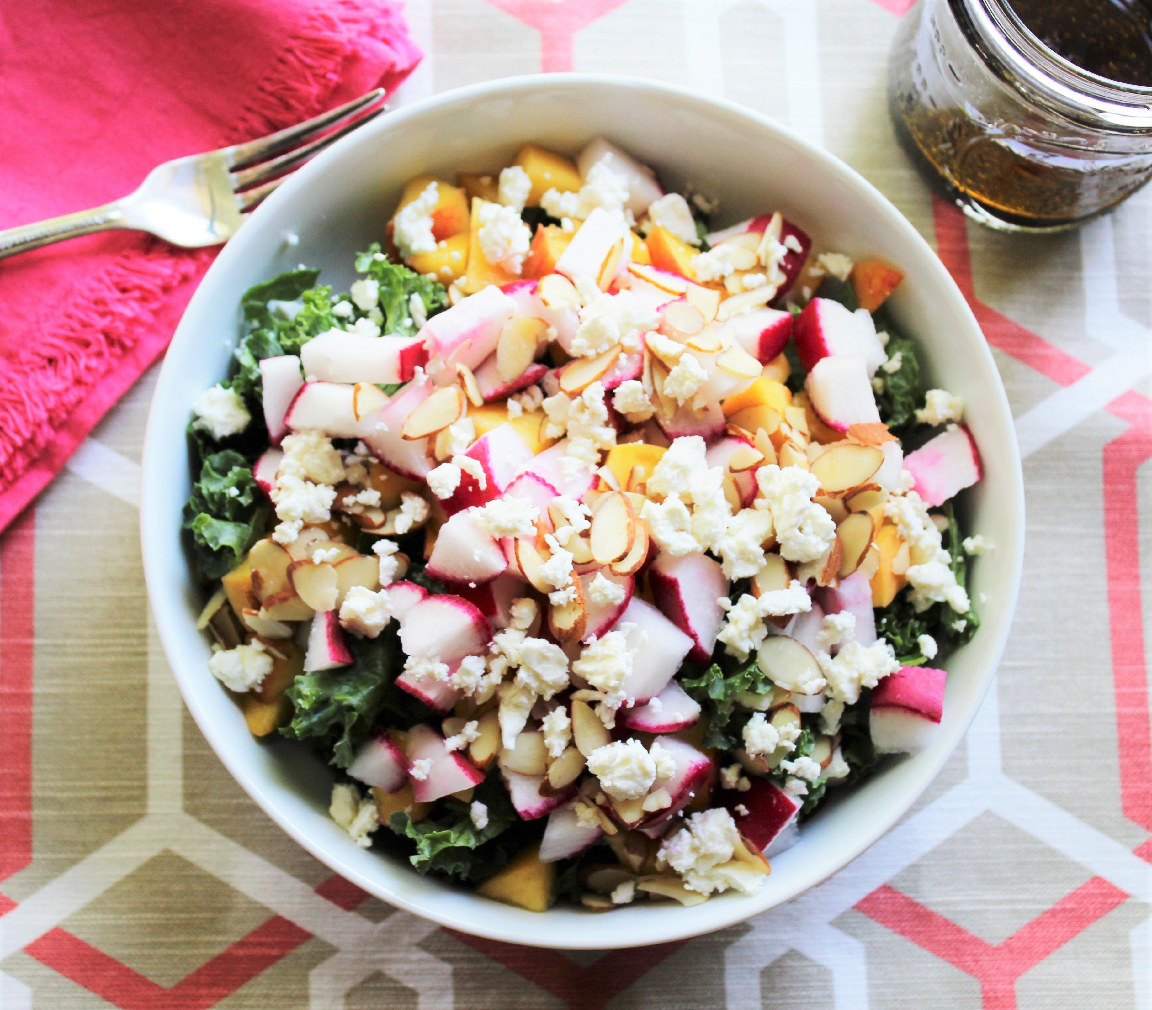 Peach, Radish, and Feta Kale Salad 1