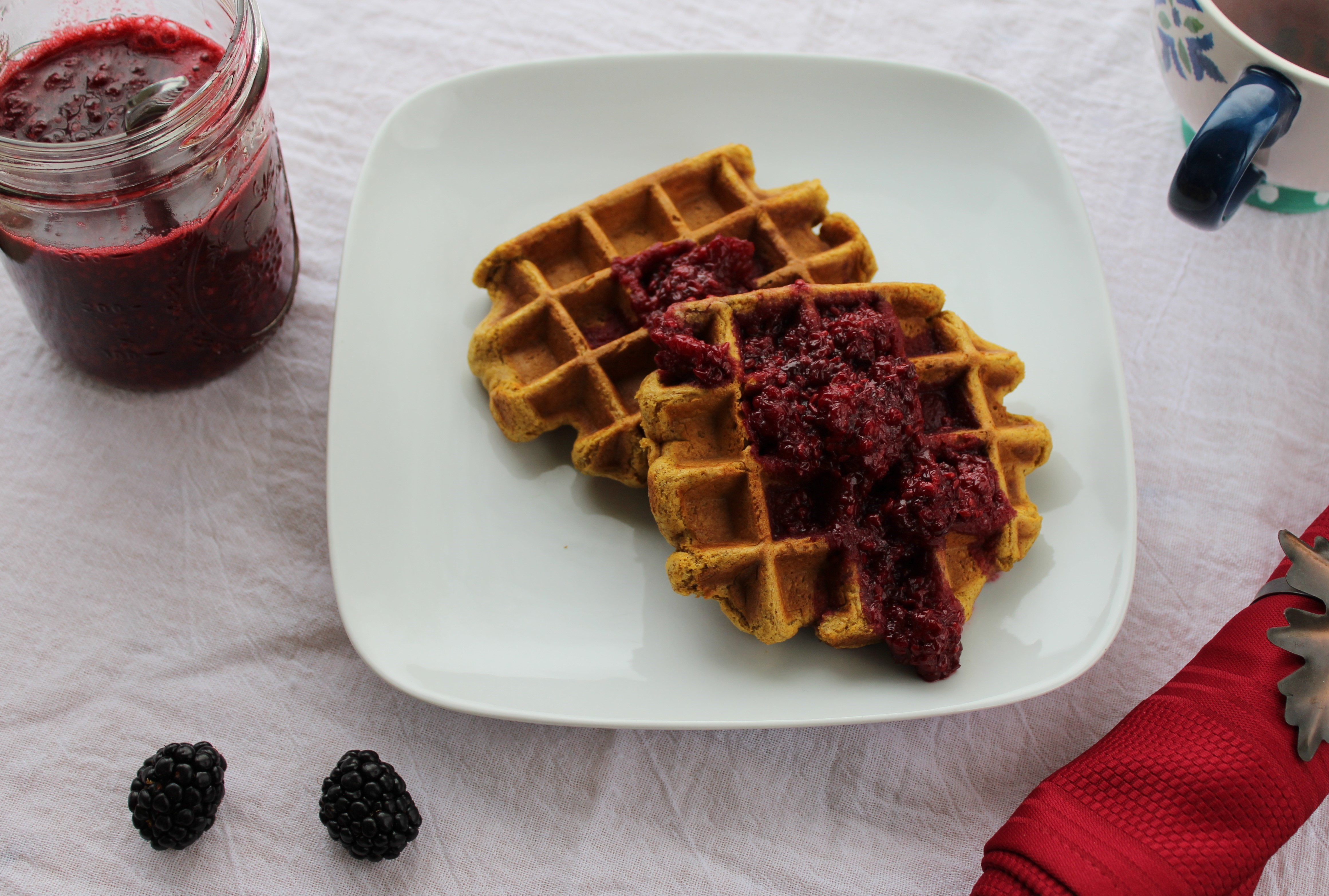 Pumpkin Cinnamon Waffles with Blackberry Sauce 1