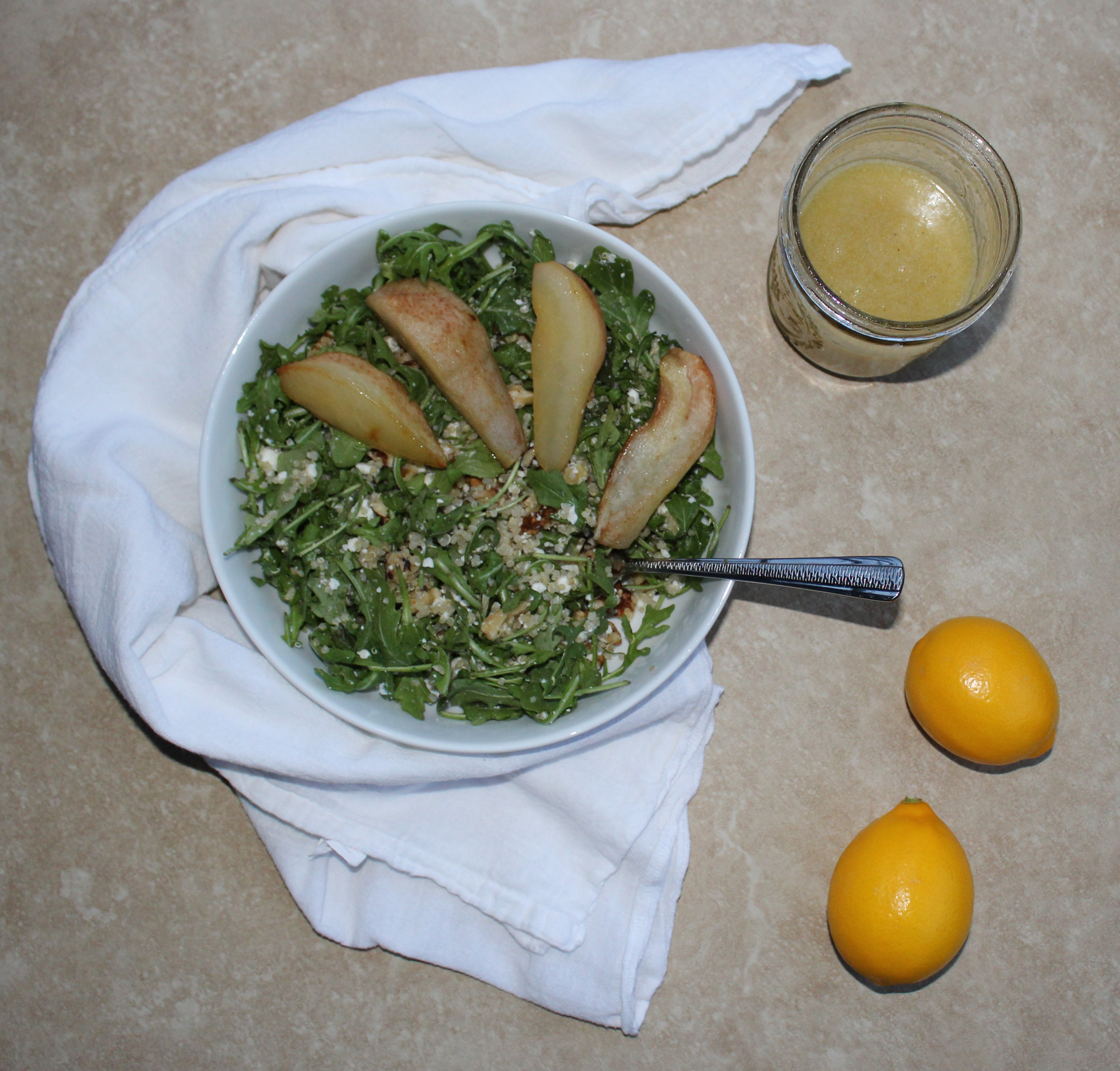 Arugula Quinoa Salad with Baked Pears and Meyer Lemon Vinaigrette 1
