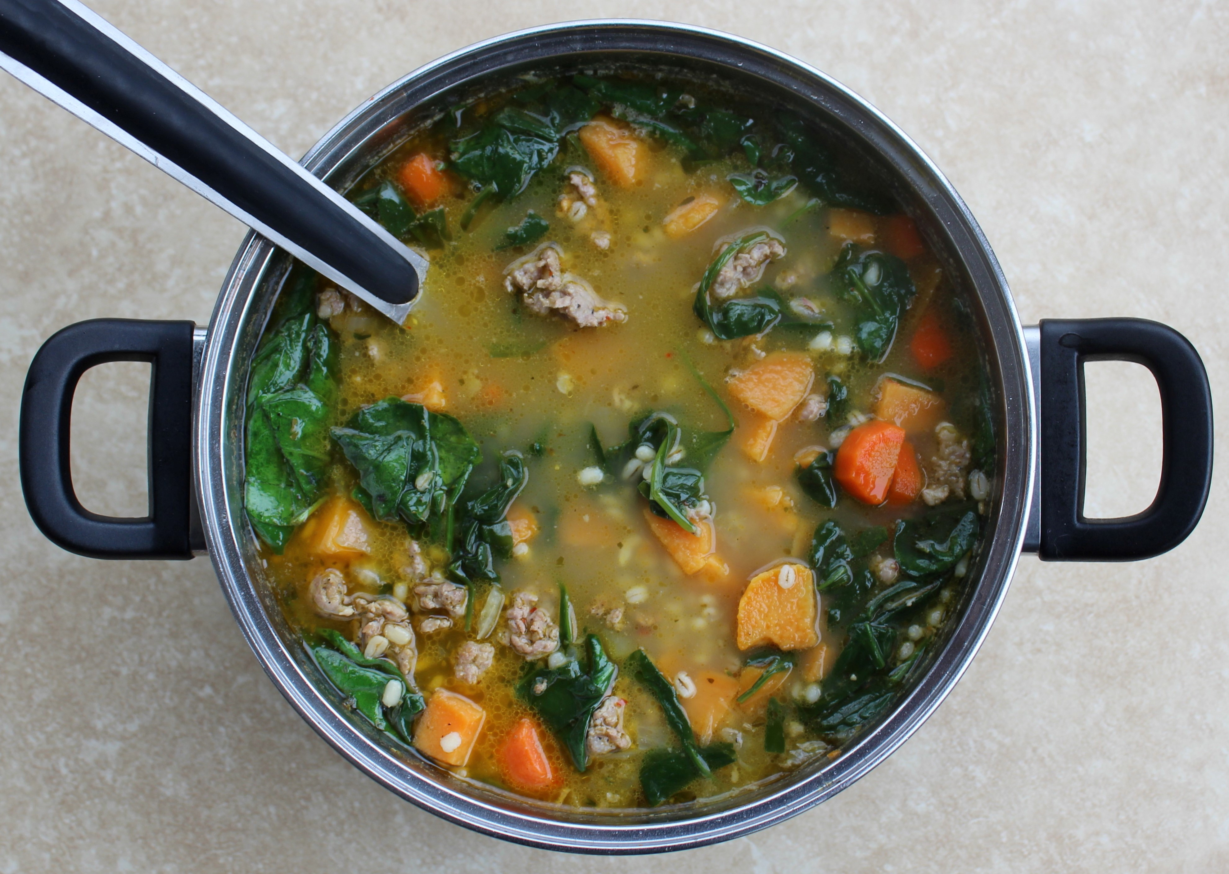Spicy Sausage, Barley, and Veggie Soup 2