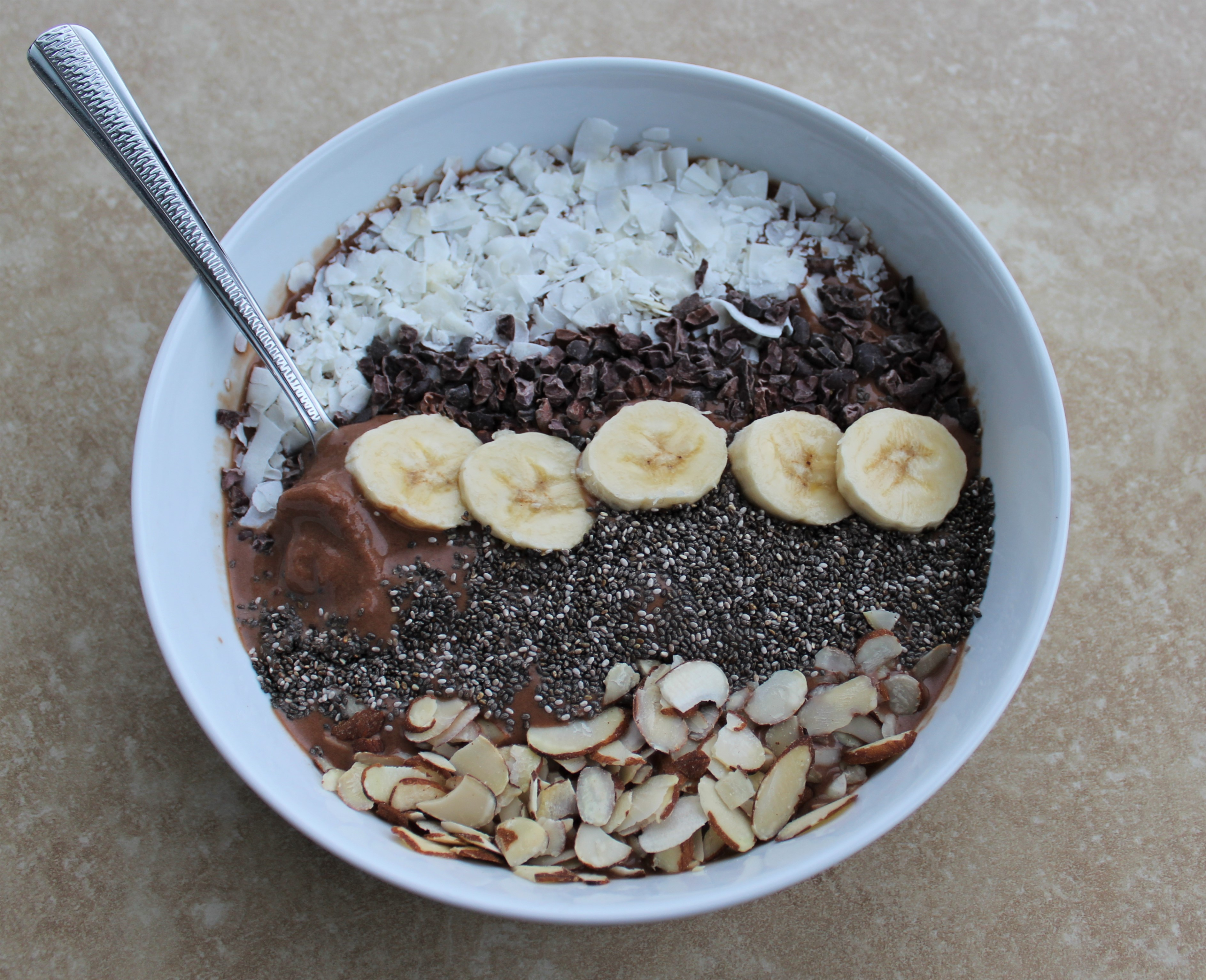 Chocolate Coconut Banana Smoothie Bowl 4