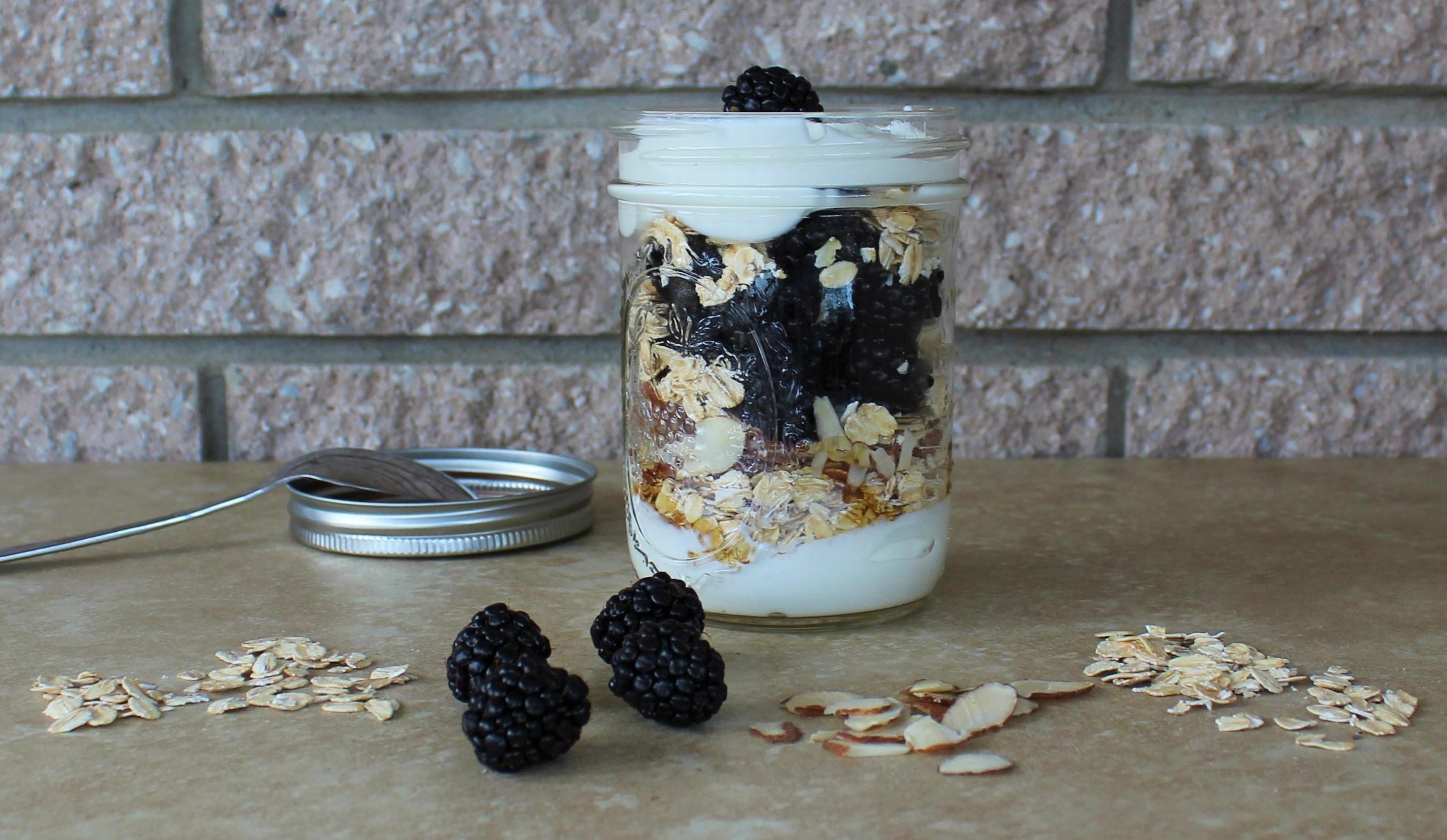 Greek Yogurt Breakfast Parfait with Blackberries, Honey and Almonds 1