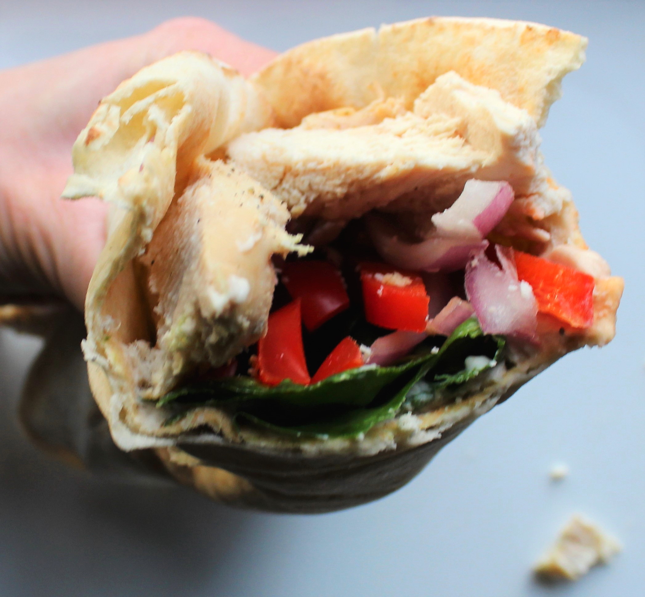 Chicken Pita Wrap with Spinach, Red Bell Pepper, and Hummus 2