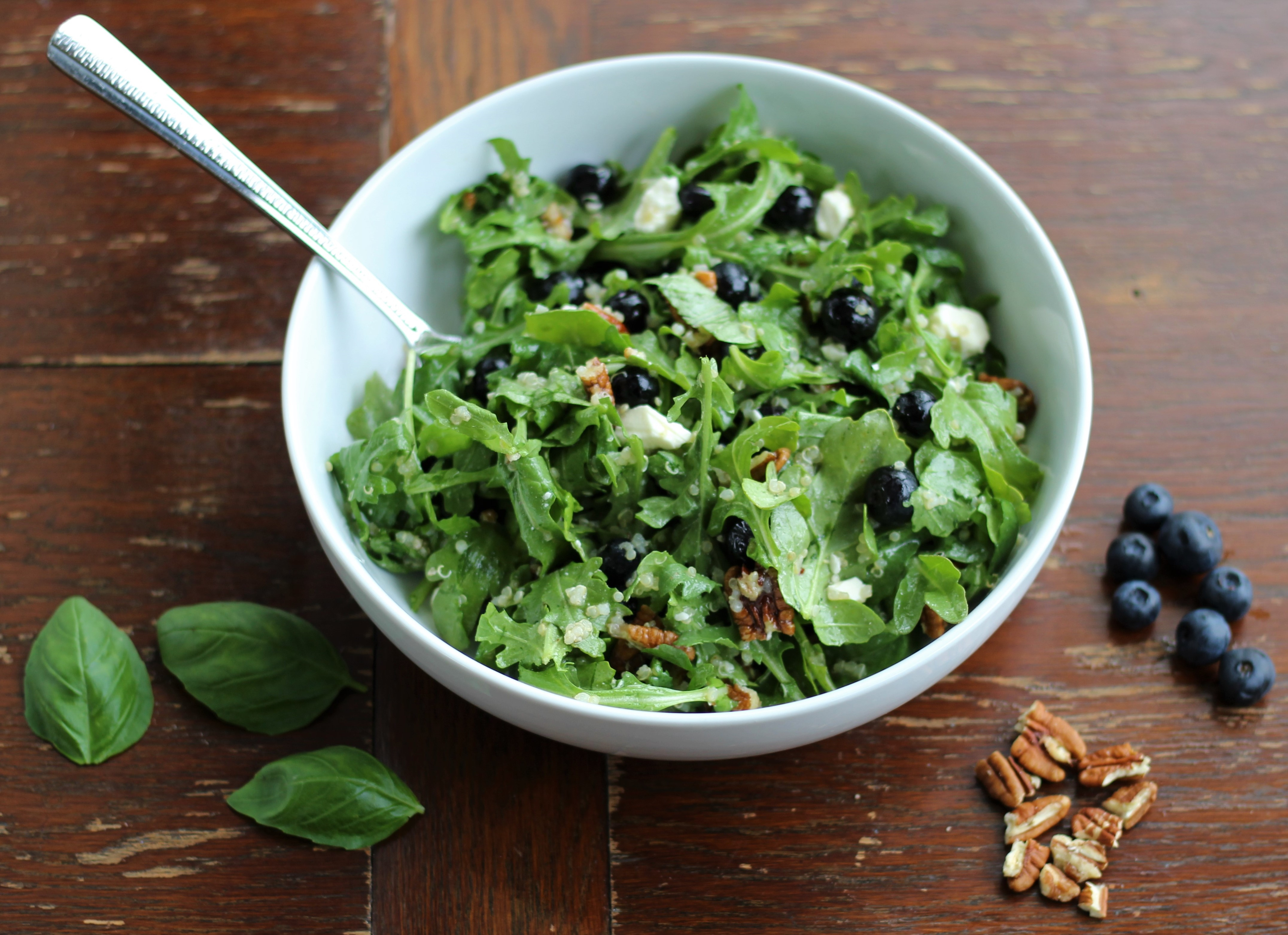 Arugula and Quinoa Salad with Feta, Blueberries, and Pecans 1