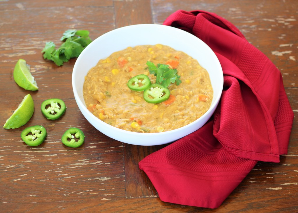 Dairy-Free White Chicken Chili in a Bowl Ready to Serve