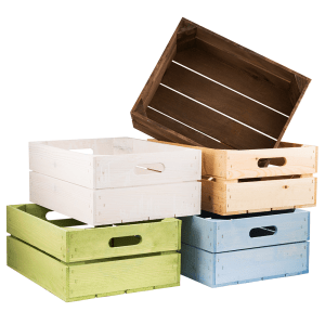 Collection of coloured wooden crates