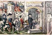 Heinrich Wölfli arriving in Jerusalem in 1520. (Heinrich Wölflis Reise nach Jerusalem 1520/1521. Edited by Hans Bloesch. Bern: Die Schweizer Bibliophilen Gesellschaft, 1929).