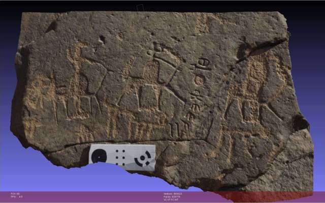 A three-dimensional computerized rendering of a stone surface carved with a Hismaic inscription and several camel drawings created using digital photogrammetry. Photo by Glenn Corbett.