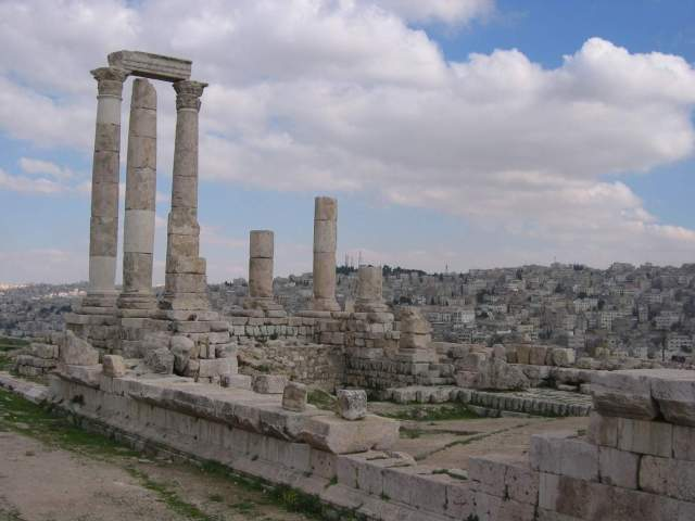 The towering columns of the Great Roman Temple on Jabal al-Qal'a dominate the skyline of Amman's historic downtown. The columns and surmounting architrave were erected in 1993 as part of an ACOR-directed initiative. Photo by Glenn J. Corbett.