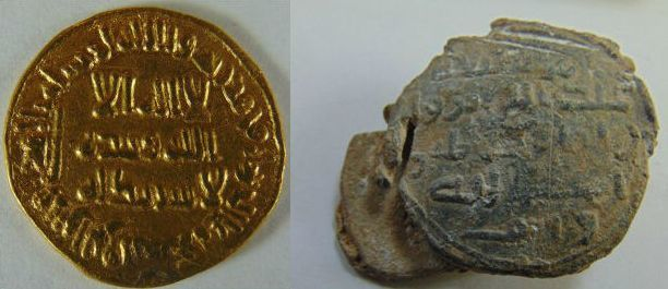 Left: Umayyad gold dinar stuck in the first half of the eighth century CE. (Collection of the Jordan Museum, Amman.) Right: Umayyad lead seal bearing lengthy Arabic inscription. (Collection of the Jordan National Bank Numismatic Museum, Amman) Photos by Tareq Ramadan.