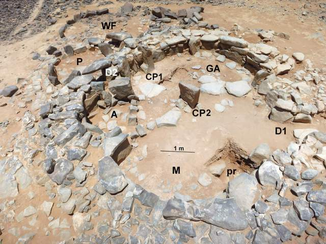 """A mid-7th millennium BC Late Neolithic house at Wisad Pools at the eastern edge of the Black Desert in all its complexity. WF-west forecourt; P-""""porch""""; D2-small doorway; A-alcove; CP1 and CP2- central pillars; M-main room; GA-grinding area; D1-principal doorway; pr-subfloor probe. (Photo by Y. Rowan)"""