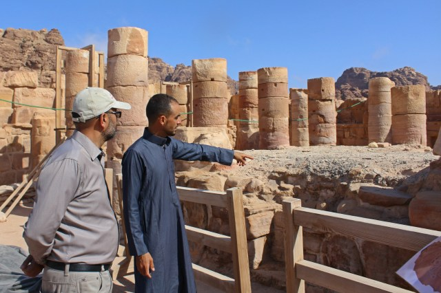 Jehad Haroun with Ahmad al Mowsa at the Temple of the Winged Lions site in Petra