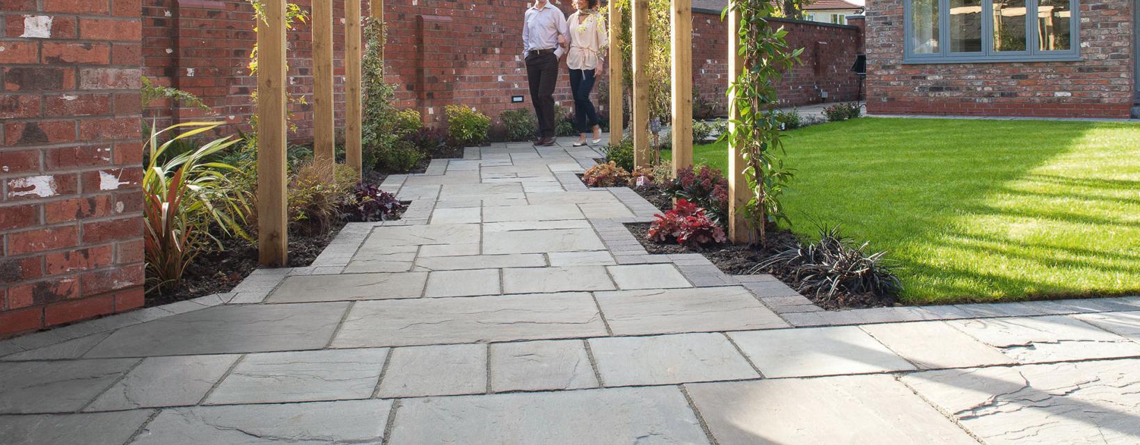 sylvern patio with tegula block edging