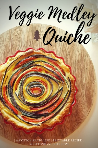 VEggie Medley Quiche Recipe. Printable Recipe and How to. Eggplant, Zucchini, Yellow Squash and Red Bell Pepper