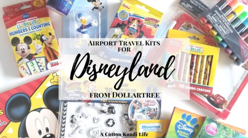 Airport Travel Kits for Disneyland from the Dollartree. Disney at the Dollar Tree. How to pack for Disneyland. Disneyland Essentials. Fun Kits for kids. Going to Disneyland kits. Activity Kits for Kids. Disney themed travel bags.